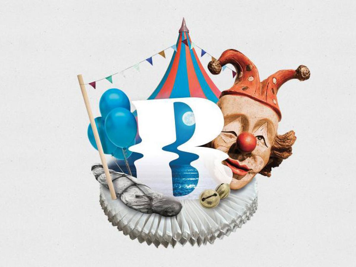 Clown Illustration mit Logo: Rigoletto Festspiele Bregenz